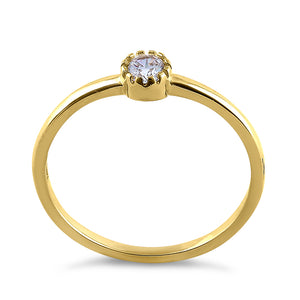 Solid 14K Yellow Gold Round Cut Inlay CZ Engagement Ring