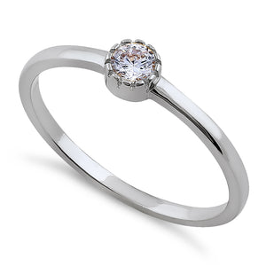 Solid 14K White Gold Round Cut Inlay CZ Engagement Ring