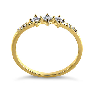 Solid 14K Yellow Gold Triple Princess Cut CZ Ring