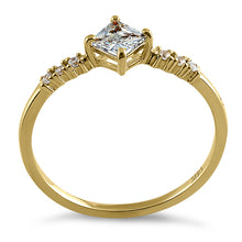 Load image into Gallery viewer, Solid 14K Yellow Gold Simple Princess Cut CZ Ring