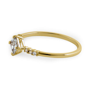 Solid 14K Yellow Gold Simple Princess Cut CZ Ring