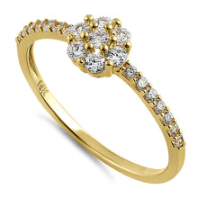Load image into Gallery viewer, Solid 14K Yellow Gold Flower CZ Ring