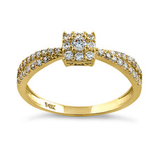 Load image into Gallery viewer, Solid 14K Yellow Gold Modern Square Round CZ Ring