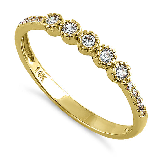 Solid 14K Yellow Gold Five Round CZ Ring