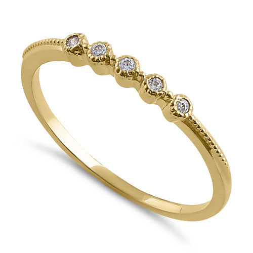 Solid 14K Yellow Gold Thin Stackable CZ Ring
