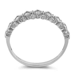 Solid 14K White Gold Elegant Half Eternity Wedding CZ Band
