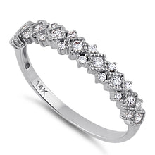 Load image into Gallery viewer, Solid 14K White Gold Elegant Half Eternity Wedding CZ Band