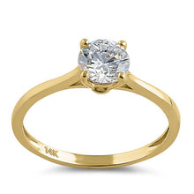 Load image into Gallery viewer, Solid 14K Yellow Gold Round Solitaire CZ Ring