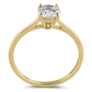 Solid 14K Yellow Gold Round Solitaire CZ Ring