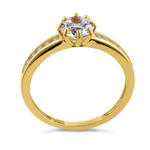 Solid 14K Yellow Gold Round Cut CZ Engagement Ring