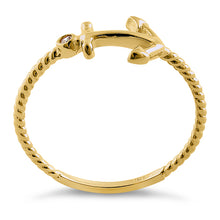 Load image into Gallery viewer, Solid 14K Yellow Gold Anchor Round CZ Ring