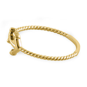 Solid 14K Yellow Gold Anchor Round CZ Ring