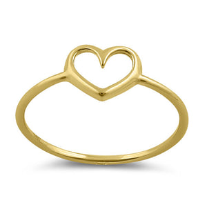 Solid 14K Gold Simple Open Heart Ring