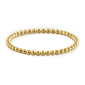 Solid 14K Yellow Gold Thin Beaded Ring