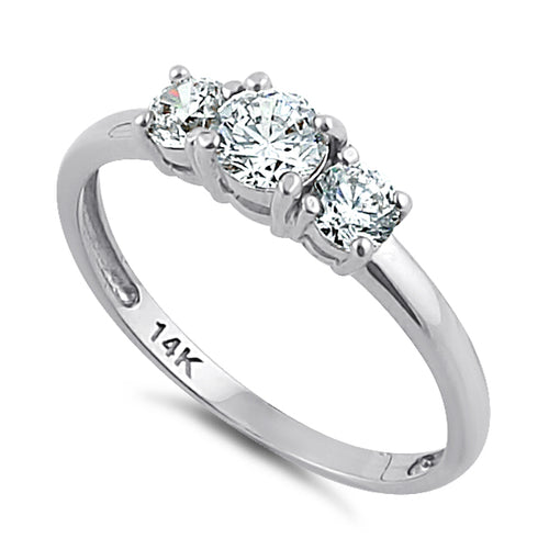 Solid 14K White Gold Triple Round Cut CZ Engagement Ring