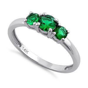 Solid 14K White Gold Triple Round Green CZ Ring