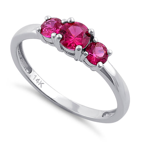 Solid 14K White Gold Triple Round Ruby CZ Ring