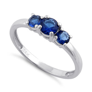 Solid 14K White Gold Triple Round Blue Sapphire CZ Ring