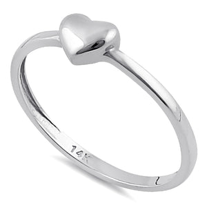 Solid 14K White Gold Puffy Heart Ring