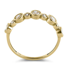 Load image into Gallery viewer, Solid 14K Yellow Gold Half Eternity Round CZ Ring