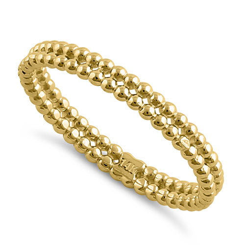 Solid 14K Yellow Gold Stacked Bead Ring
