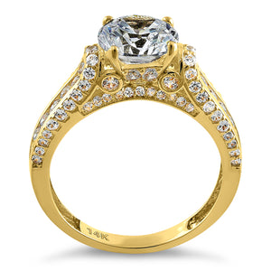 Solid 14K Yellow Gold Majestic Round CZ Engagement Ring