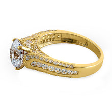 Load image into Gallery viewer, Solid 14K Yellow Gold Majestic Round CZ Engagement Ring