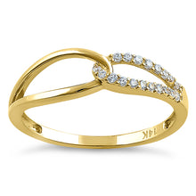 Load image into Gallery viewer, Solid 14K Yellow Gold String Knot Round CZ Ring