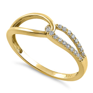 Solid 14K Yellow Gold String Knot Round CZ Ring