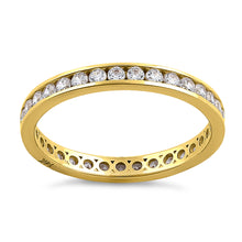 Load image into Gallery viewer, Solid 14K Yellow Gold Channel Eternity CZ Band