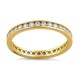 Solid 14K Yellow Gold Channel Eternity CZ Band