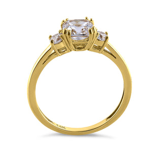 Solid 14K Yellow Gold Cushion Cut Triple CZ Engagement Ring