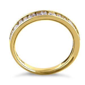 Solid 14K Yellow Gold Channel Round & Baguette Straight CZ Eternity Band
