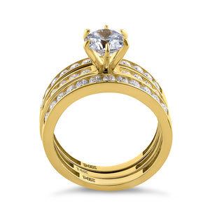 Solid 14K Yellow Gold Round Cut Triple CZ Ring Engagement Set