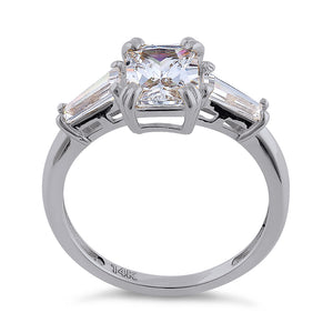 Solid 14K White Gold Radiant Cut CZ Engagement Ring