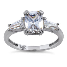 Load image into Gallery viewer, Solid 14K White Gold Radiant Cut CZ Engagement Ring