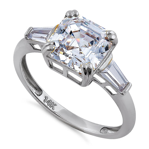 Solid 14K White Gold Asscher Cut CZ Engagement Ring