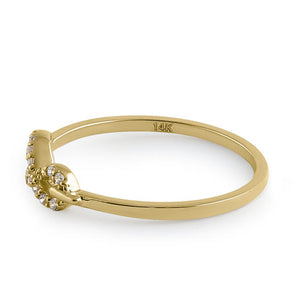 Solid 14K Yellow Gold Trendy Infinity CZ Ring