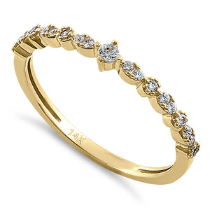 Solid 14k Yellow Gold Simple Round Clear CZ Ring