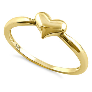 Solid 14K Yellow Gold Plush Heart Ring