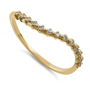 Solid 14K Yellow Gold Wave Accent Round Clear CZ Ring