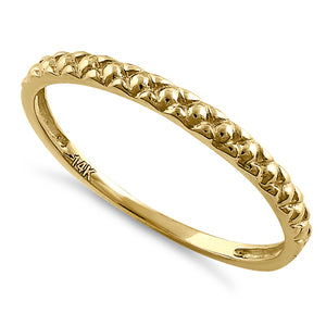 Solid 14K Yellow Gold Bead Ring
