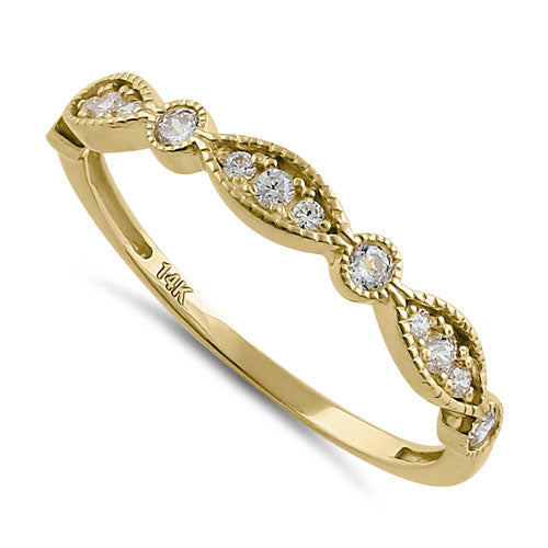 Solid 14K Yellow Gold Half Eternity Beaded Round Marquise CZ Ring