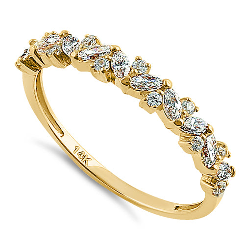 Solid 14K Yellow Gold Cluster Marquise & Round Clear CZ Ring