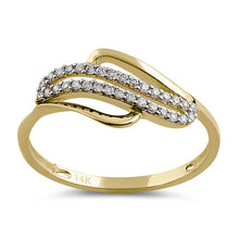 Load image into Gallery viewer, Solid 14K Yellow Gold Curved CZ Ring