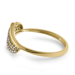 Solid 14K Yellow Gold Curved CZ Ring