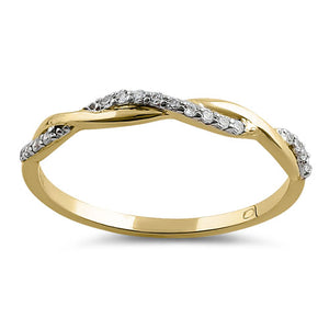 Solid 14K Yellow Gold Twist CZ Ring