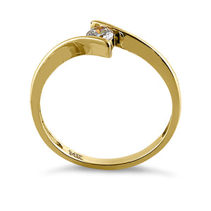 Solid 14K Yellow Gold Modern Spiral Round CZ Engagement Ring