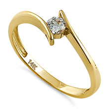 Load image into Gallery viewer, Solid 14K Yellow Gold Modern Spiral Round CZ Engagement Ring