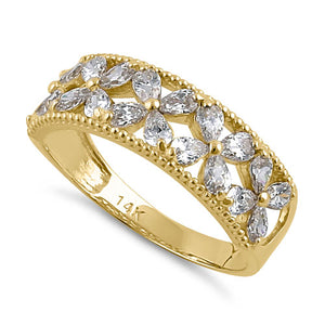 Solid 14K Yellow Gold Flower CZ Ring